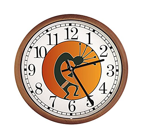 New Espresso/Cappuccino Finish Round Wall Hanging Clock featuring Orange Kokopelli Themed Logo ()