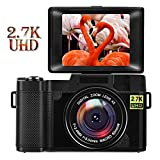 Vlogging Camera Digital Camera 24.0 MP Vlogging Camera with YouTube 2.7K Full HD 3.0 Inch Camera with Flip Screen Retractable Flashlight(Micro sd Card not Include)