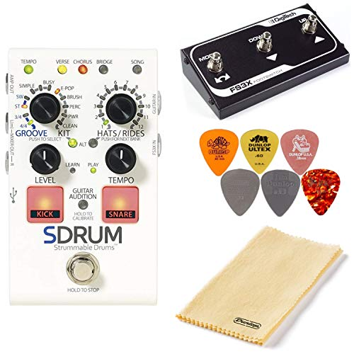 (Digitech SDRUM Strummable Drums Pedal Bundle with FS3X Footswitch, Polishing Cloth, and 6 Dunlop Picks )