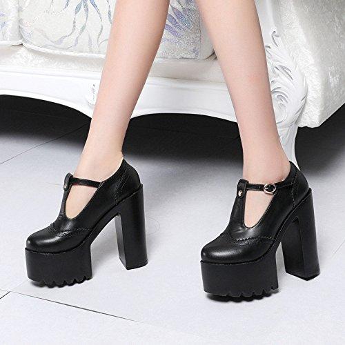 XiaoGao T hebilla tacón tacon 14 cm de alto talon Suela suela de zapatos,Black