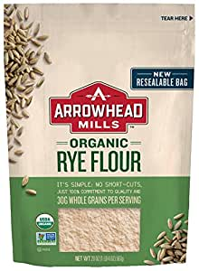 Arrowhead Mills Organic Rye Flour, 20 oz. Bag (Pack of 6