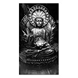 Visual Art Decor Black and White Buddha Canvas Wall Art,Buddha Painting Picture Prints,Buddha Statue Wall Decoration Framed and Stretched Giclee Canvas Print Buddha Wall Art (Buddha 2)