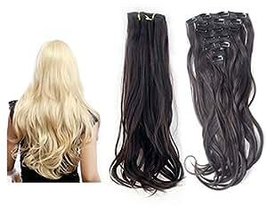 Womens Kanekalon 7-layer 55-centimeter Slight Curl Clip-in Hair Extensions (Black)