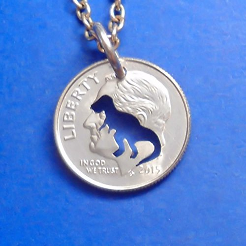 Paleontology Costumes - Dinosaur Pendant Necklace or Keychain Keyring Cut In A US Dime Coin