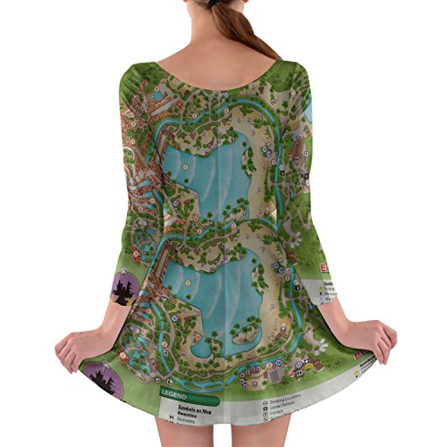 Typhoon Lagoon Map Longsleeve Skater Dress Kleid mit langen Ärmel XS-3XL