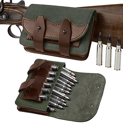 BronzeDog Handmade Leather Rifle Ammo Cartridge Holder, Leather Ammo Pouch Shotgun Bag Hunting, Ammo Wallet Belt Shell Pouch Shotgun 7.62 cal or 12 gauge (7.62 caliber)