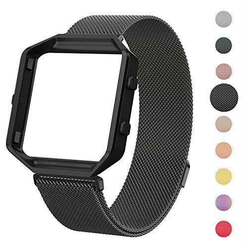 CRODI Compatible with Fitbit Blaze Bands, Womens Mens Stainless Steel Magnetic Milanese Wristbands with Gap Frame, Mesh Replacement Bracelet Strap for Fit bit Blaze
