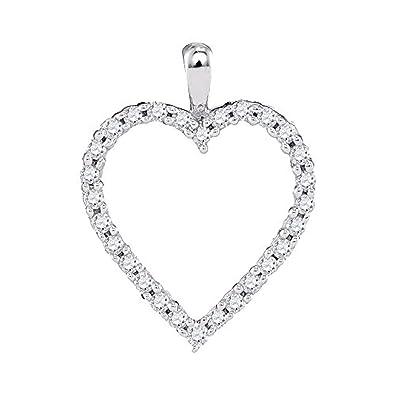 48aef2f7b Amazon.com: Roy Rose Jewelry 10K White Gold Womens Round Diamond Heart  Outline Pendant 1/4-Carat tw: Jewelry