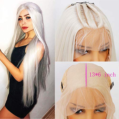 Andrai Hair 13×6 Inch Deep Part Lace Platinum Blonde Lace Front Synthetic Wigs Long Straight Heat Resistant Hair Pre Plucked Wig with Baby Hair Bleached Knots for Women 26 Inch ()