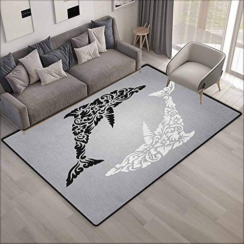 Non-Slip Rug,Dolphin Monochrome Subaquatic Design with, used for sale  Delivered anywhere in Canada