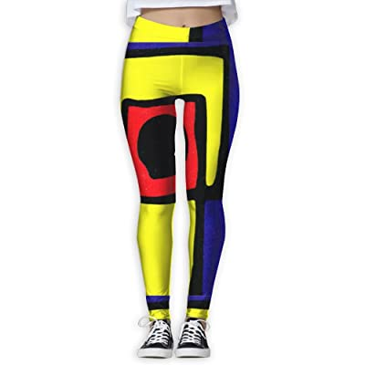 High Waist Yoga Pants Workout Sport Leggings for Women - Yellow Purple