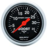 "Auto Meter 3304 Sport-Comp 2-1/16"" 0-35 PSI Mechanical Boost Gauge"