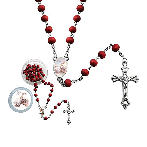Christening Bag - WE 12 Pcs Baptism Red Scented Rosaries with Individual Gift Box and Bag - Christening Favor