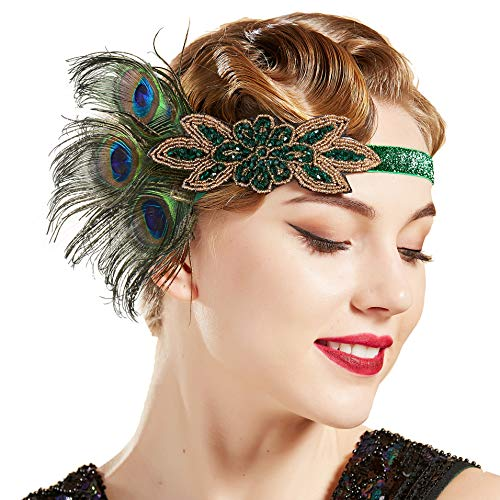 BABEYOND 1920s Flapper Peacock Feather Headband 20s Sequined Showgirl Headpiece (Style-7) -