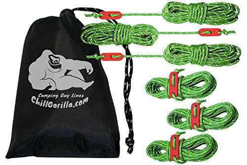 Chill Gorilla 4mm 78' Reflective Tent Guide Rope Guy Line Cord & Adjusters. Lightweight, Rain Tarps, Tents, Hiking, Backpacking. Essential Camping & Survival Gear. Camp Accessories. Green