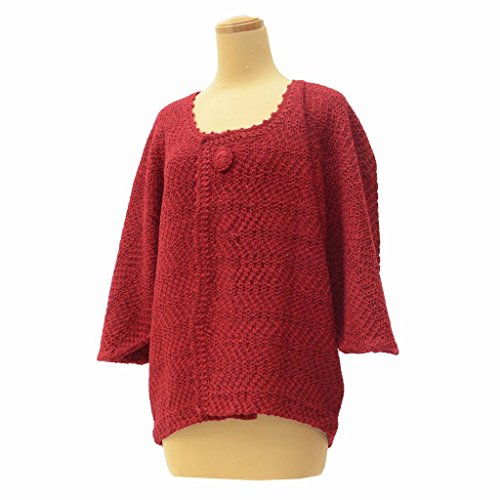羽織 着物 中古 リサイクル アクリル 変り縞文様 裄62cm はおり 赤系 裄Sサイズ ll0391c