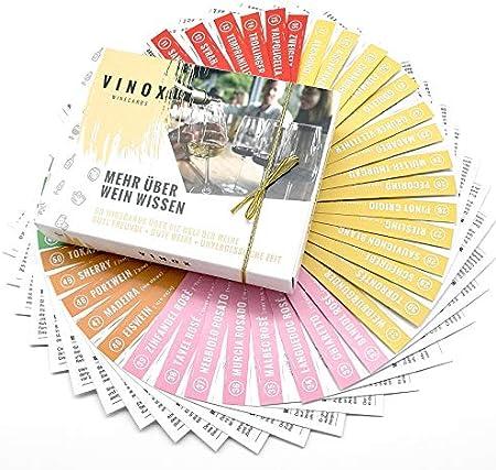 Vinox® – 50 Winecards para los amantes del vino I Más sobre el vino I Delineación de vino para casa I Especial regalo de vino para mujeres y hombres I Fabricado en Alemania