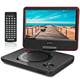 "WONNIE 9.5"" Portable DVD Player with 270° Swivel Screen, Best Gift for Kids, Support USB/SD Slot, Direct Play in Formats AVI/MP3/JPEG/RMVB (9.5, Red)"