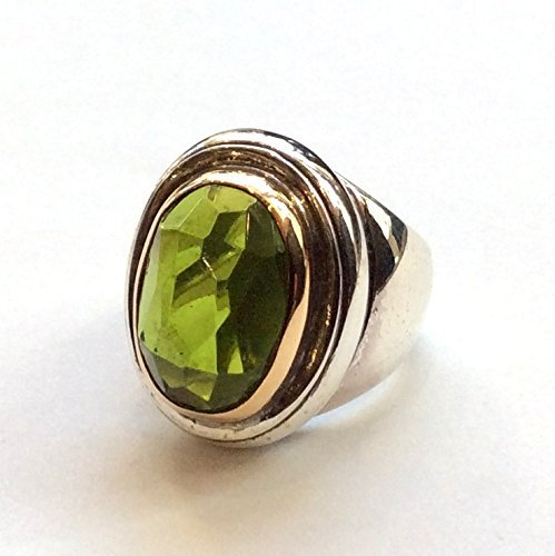 Ebony Cocktail - Oval cocktail chunky birthstone Peridot Gemstone Silver gold statement bohemian ring - Ebony R2348-1