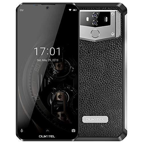 (2019) OUKITEL K12 Android 9,0 Smartphone Ohne Vertrag mit 10000mAh massiv Akku, 6,3″ Wassertropfen FHD+ Display Handy, Helio P35 Octa-Core 2,3GHz 6GB+64GB, Schnellaufladung, Leder+Metall Design, NFC