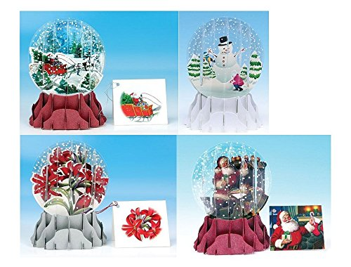 3D Pop-Up Card Snow Globe - Christmas Assortment 2A- Set of 4 Cards Snowglobe Christmas Cards