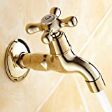 LINA@ European-style copper and gold-plated wall-mounted single cold bathroom faucet , clubman [a2] faucet mop pool
