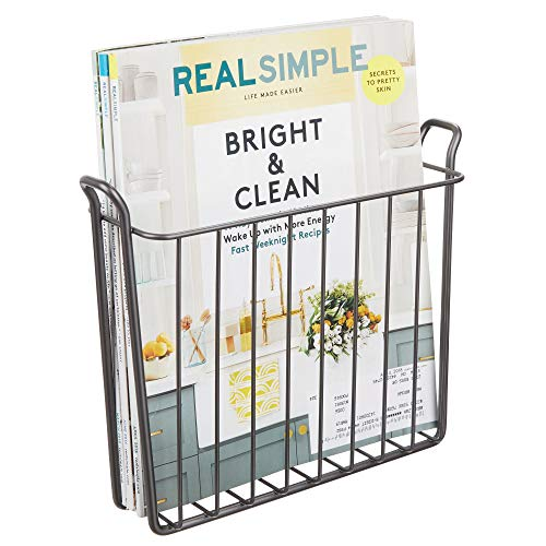mDesign Decorative Modern Wall Mount Magazine Holder, Organizer - Space Saving Compact Rack for Magazines, Books, Newspapers, Tablets in Bathroom, Family Room, Office, Den - Sturdy Wire, Graphite