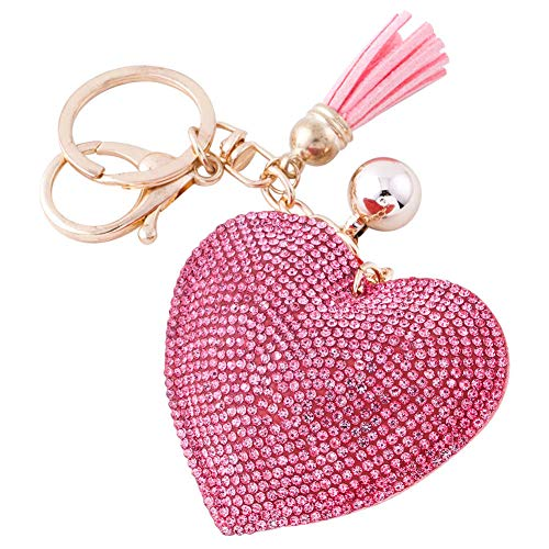 Soleebee Glitter Love Heart Keychain Premium SS6 Crystal Tassel Key Chain Leather Bag Charm for Women Girls (Hot Pink) (Pink Key Charm)