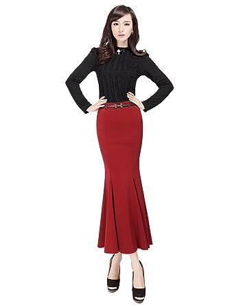CHENGYANG Femme Maxi Jupe Crayon Longue Taille Haute Élastique Moulant  Soirée Cocktail Jupe (Vin Rouge a3db2b46e319