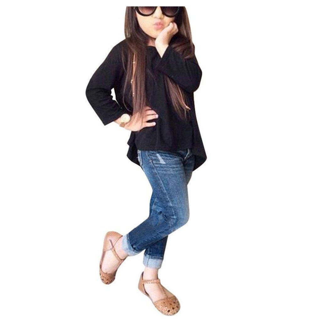 ❥Elecenty 2PCS Bekleidungssets Mädchen Kleidung Outfit Set Mode Langarm  Solide T-Shirt Tops Hemd +Lange Hosen Jeans Baby Prinzessin Tracksuit ... 6a6e84beab
