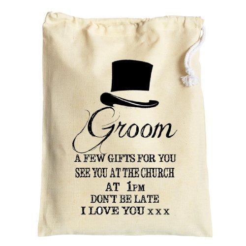 Tamaño mediano personalizable algodón bolsa de regalo para el novio antes de la boda