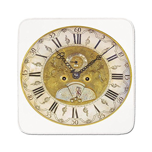 Cozy Seat Protector Pads Cushion Area Rug,Clock Decor,Vintage Theme A Seventeenth Century Ornamental Clock Face with Roman Numeral,Gold Black,Easy to Use on Any Surface