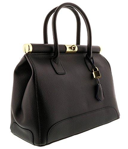 [HS8005 NR MINERVA Black Leather Satchel/Shoulder Bag] (Minerva Collection Fashion)