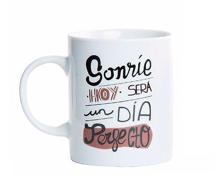 Item Taza Con Diseño De Frases Optimistas Porcelana Blanco 38x44x39 Cm