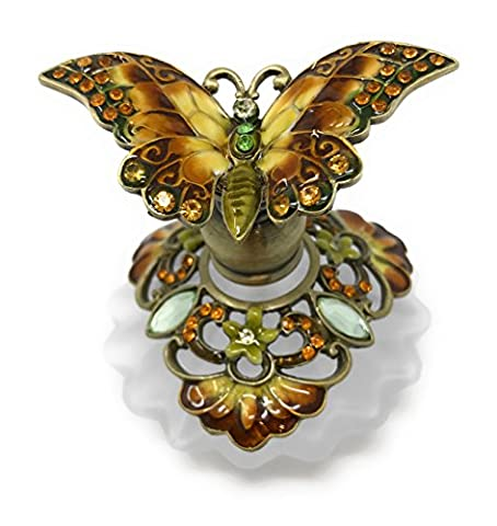 Bejeweled Brown and Yellow Butterfly Perfume Bottle by Welforth, 2.25T - Butterfly Perfume Stopper Bottle