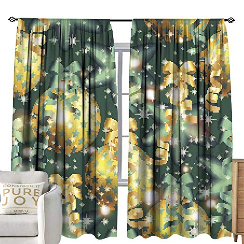 WinfreyDecor Sliding Curtains New Year Pattern with Ball Christmas Wallpaper Darkening and Thermal Insulating 72W x 108L Inch ()
