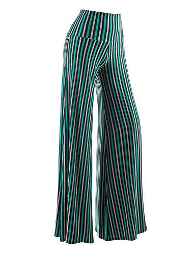WB1195 Womens Polka Dot Print Wide Leg Lounge Pants S Green_Pink