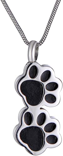 Cremation Memorial Stainless Steel Pet Paw Urn Pendant for Ash Keepsake