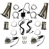 2.5 inch Exhaust Cut Out Remote Control + Manual Switch Stainless Steel Y Headers Pair Electric Exhaust Cutout Pipe Kit