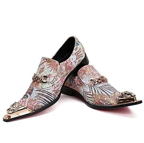 Winklepicker Metal Dedo del pie puntiagudo piel genuina De los hombres Bomba Negocio Casual Los zapatos de cuero Zapatos de boda británico Estilo de Inglaterra Ponerse Mocasines Zapatos Monje Oxford Z White