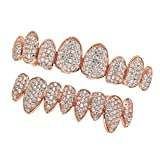 SM SunniMix 18K Gold Plated CZ Grills 8 Teeth Mouth Caps Grills Joker Top Bottom Rock - Rose Gold