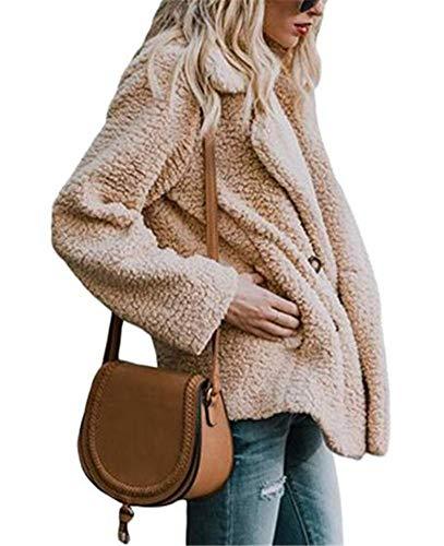 Manteau Hiver Ibelive Veste Outwear Front avec Automne Femmes Poches Cardigan Fuzzy Fleece Kaki Ouvert ppFwqnz4g