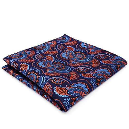SHLAX&WING Silk Ties for Men Paisley Blue Orange Mens Neckties Jacquard Woven