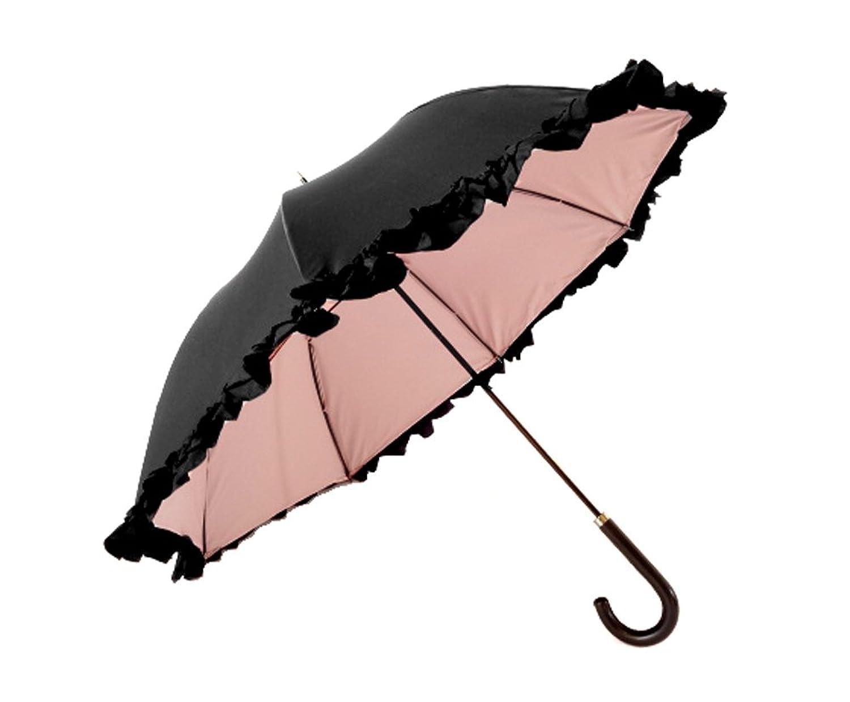 クラシコ 遮光100% 晴雨兼用 日傘 uvカット 100% 遮光 遮光 紫外線カット 紫外線対策 清涼効果 コーティング 二重生地 ダブルフリル 傘 かさ カサ レディース ショートタイプ B06Y5QF7VV01 ブラック×ピンク