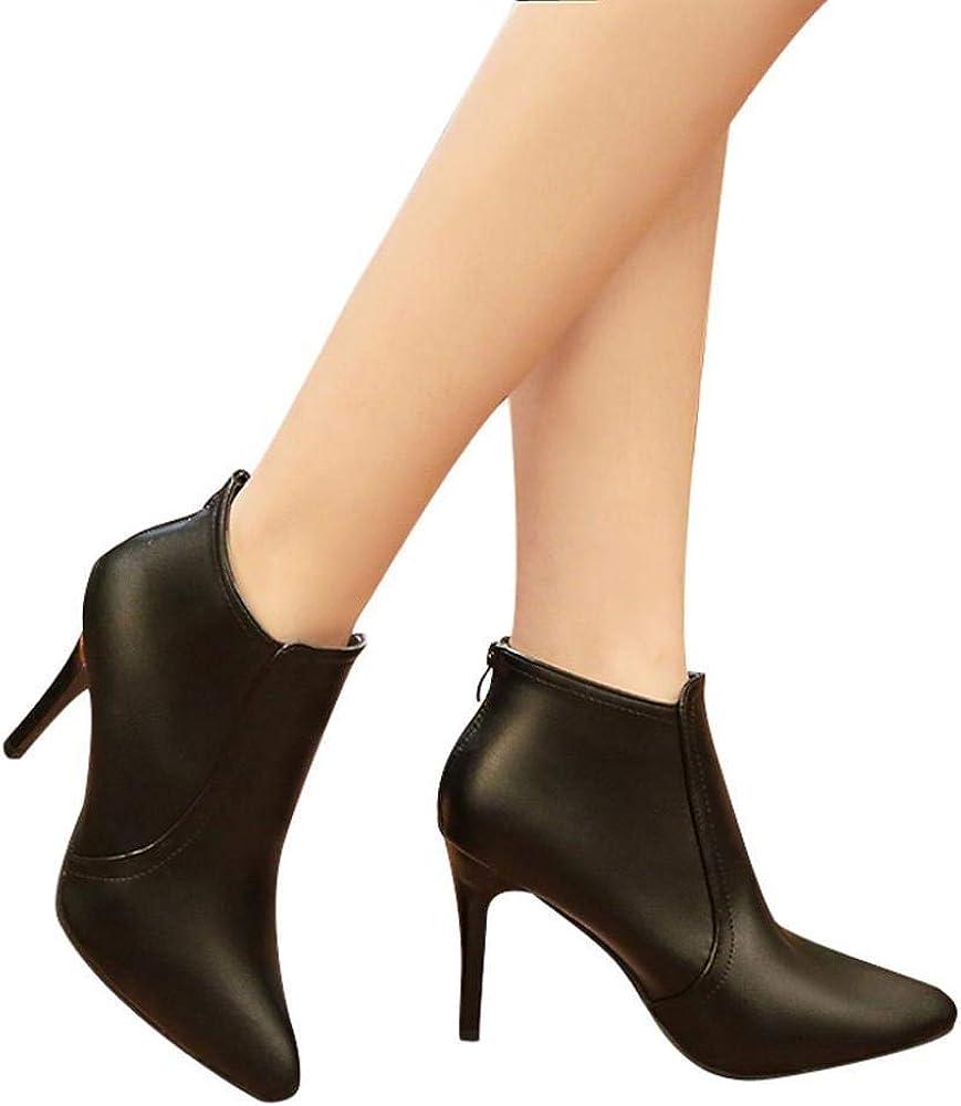 Amazon.com: Gyoume Botas de tacón alto para mujer, botas de ...
