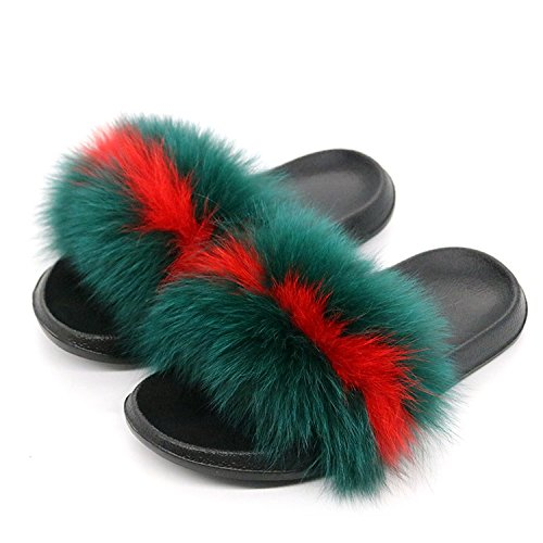 Fox Slippers Green Hair Red Really Women Sandals Shoes Home New Summer Flip Slides Flops Flat Plush Stripe Fur Chiffoned Ladies Beach qwYg40