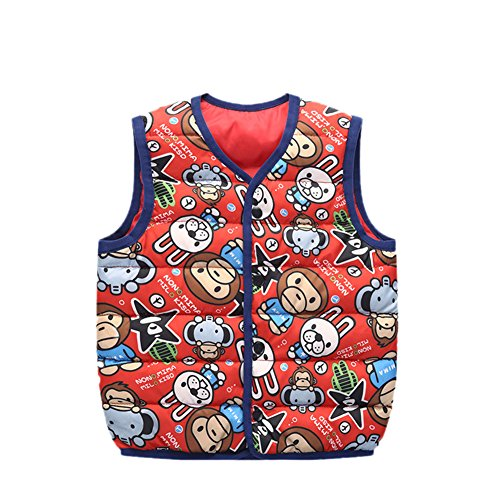 Lemonkids;® Children Wadded red Kids Vest Outfits Jacket Warm monkey Lightweight Cartoon wawxH