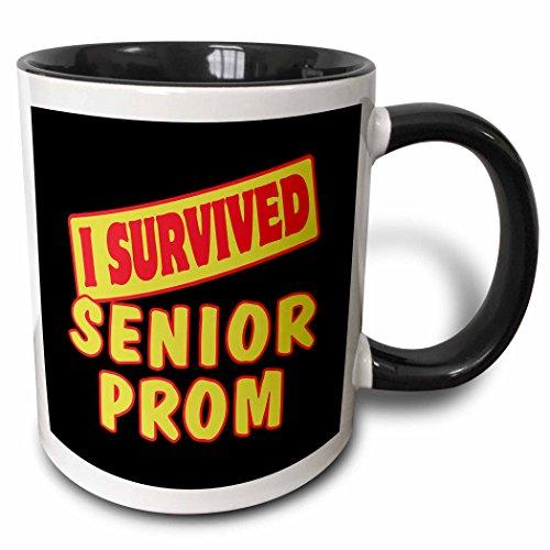 (3dRose Dooni Designs Survive Sayings - I Survived Senior Prom Survial Pride And Humor Design - 15oz Two-Tone Black Mug)