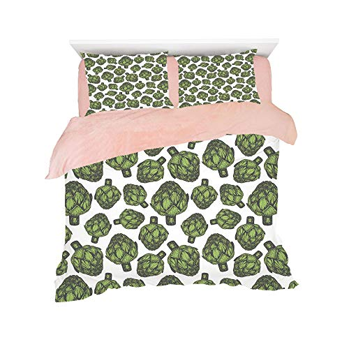 Flannel Duvet Cover Set 4 pieces Bedlinen Winter Holiday for bed width 6ft Pattern Customized bedding for girls and young children,Artichoke,Detailed Drawing of Super Foods Fresh Vitamin Sources Natur