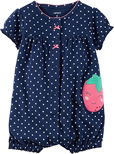 UPC 889338512528, Carter's Baby Girls' Snap-Up Cotton Romper (12 Months, Navy/Strawberry)